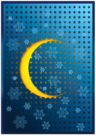 Snowflakes and half sun on a punched blue sheet. Merry Solstice background Stock Photo