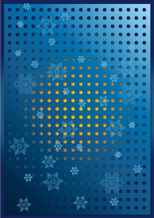 Snowflakes on a punched sheet over a blue background