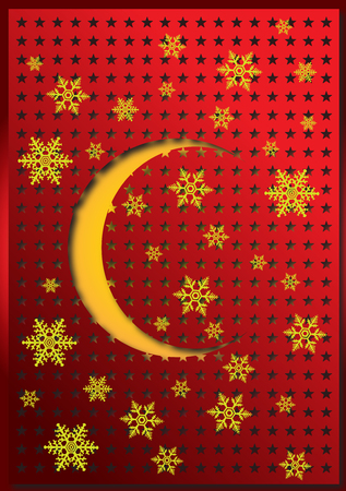 Snowflakes and half sun on a punched red sheet. Merry Solstice background