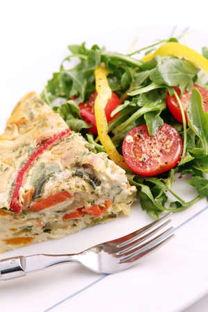 epicurean: Quiche and salad:  Vegetarian quiche with a green salad.