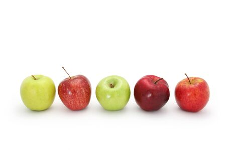 granny smith: Apples in a row, isolated on white with natural shadow.  Includes golden delicious, red delicious, granny smith, fuji.
