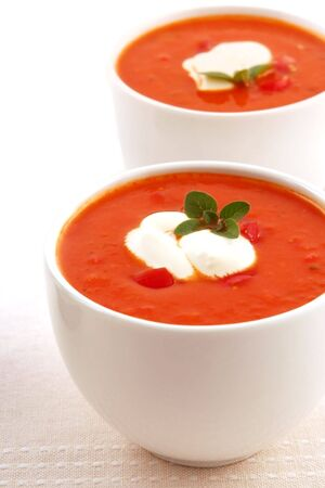 capsicum: Roasted tomato and herb soup, with capsicum and yoghurt.