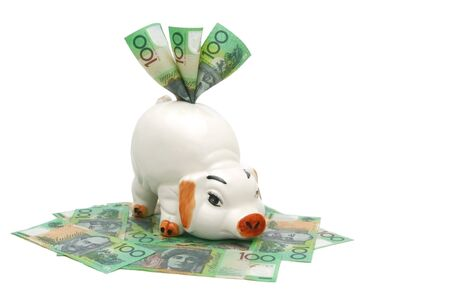 Piggy Bank with Australian $100 notes.