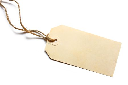 gift tag: Blank tag tied with brown string.  Price tag, gift tag, sale tag, address label, etc.