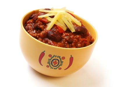 A bowl of home made chili, with beans and grated cheese. Stock Photo - 1928706