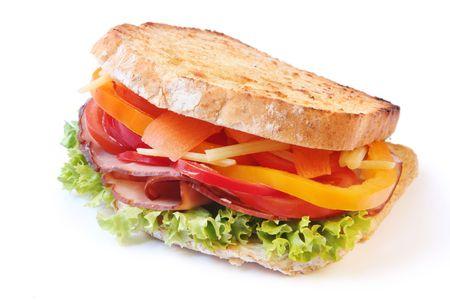 ham sandwich: Prosciutto sandwich, tostato, con insalata.