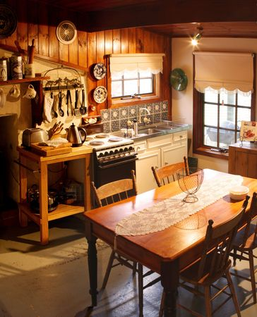 cosy: Kitchen of an old cottage kitchen, lovingly restored.  The cottage was built in 1866, in a goldmining area of Victoria, Australia.