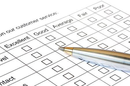 Pen on customer service rating. Stock Photo - 1928899