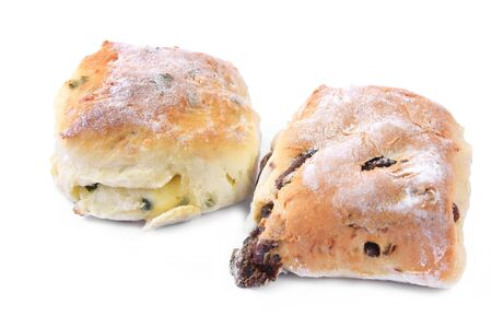 chive: Two scones, one a date scone, and the other cheese and chive. Stock Photo