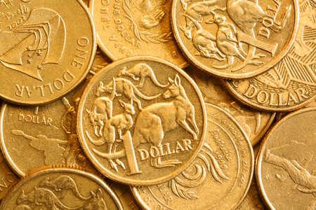 dollar coins: Full-frame of Australian bronze one dollar coins.
