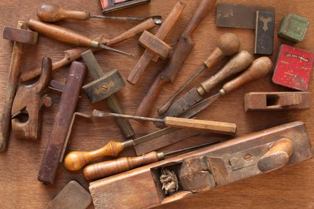 whittle: Vintage woodworking tools, including planes, chisels, whittling tools.  Most of these are hand-made.