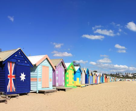 huts: Colourful bathing boxes at Brighton Beach, Melbourne, Australia.  A Melbourne icon.