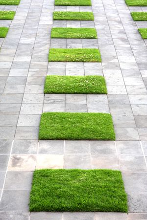 smooth stones: Paving stones and lawn squares, in interesting geometric pattern.