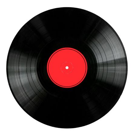 Vinyl 33rpm record with red label.   Stock Photo