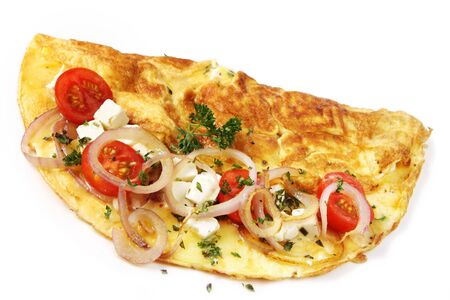 red onions: Omelette with cherry tomatoes, grilled red onions, mozzarella, goats cheese and herbs, isolated on white.   Stock Photo