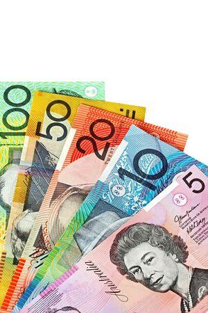 fanned: Australian money, fanned on a white background.   Stock Photo