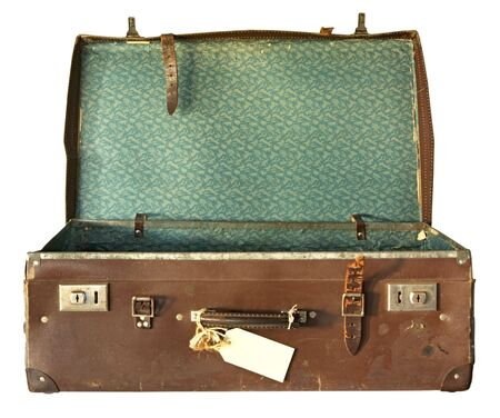 open suitcase: Vintage brown leather suitcase, open.  With clipping path.
