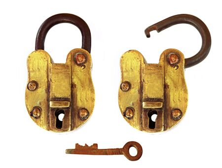insure: Vintage brass padlock, open and closed, with key.  19th Century Indian padlock.