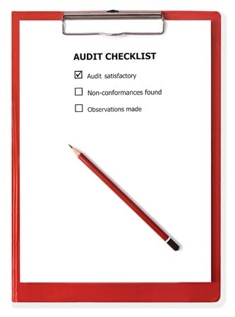 satisfactory: Audit checklist on red clipboard, with pencil