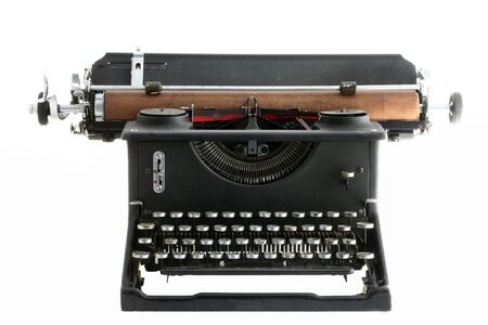 secretarial: Old manual typewriter with white background