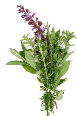 A bouquet garni of fresh rosemary, flowering sage, and oregano.