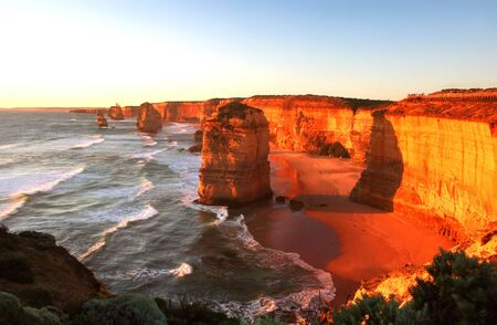 A glorious sunset over The Twelve Apostles, Victoria, Australia. Stock Photo