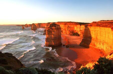 12: A glorious sunset over The Twelve Apostles, Victoria, Australia. Stock Photo