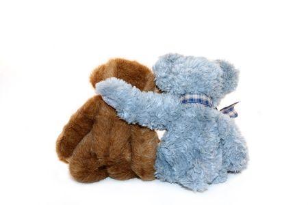 osos de peluche: Dos osos de peluche diferente, sentados juntos.