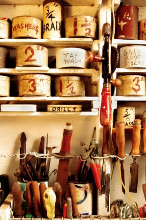 handtools: A vintage home handymans workshop, meticulously organized.