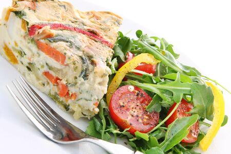 epicurean: Quiche and salad - vegetarian quiche with a salad of rocket leaves, cherry tomatoes, and capsicum