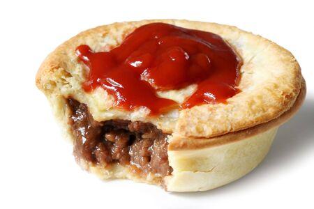 meat pie: Australian meat pie and tomato sauce. Stock Photo