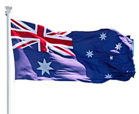 flagpoles: Australian flag fluttering isolated on white
