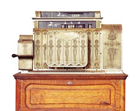 Vintage cash register, isolated on white.  photo