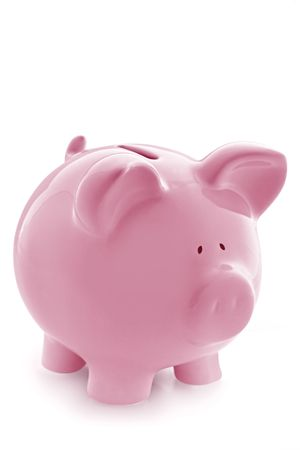 piggy bank money: Gorgeous pink piggy bank, isolated on white with soft shadow.