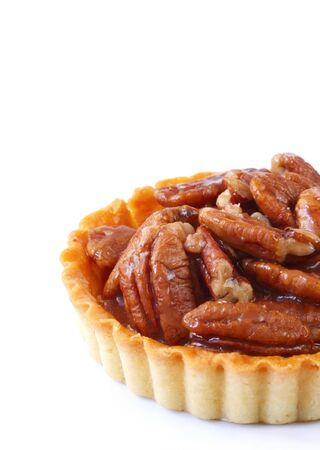 pecan: Small pecan pie or tart, isolated on white.