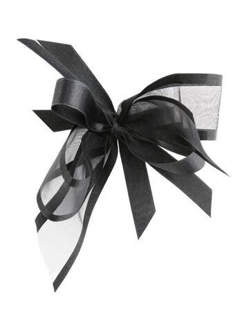 Black satin ribbon bow, isolated on white.  photo