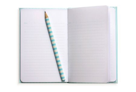 Open notebook with matching pencil.  Ready for your diary note or list.  Isolated on white.  Clipping path included. Stock Photo - 2819162