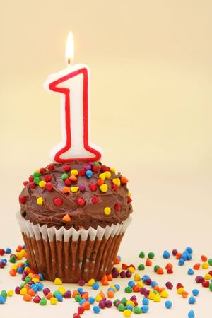 hundreds and thousands: Frosted chocolate cupcake with a numeral one candle.  Surrounded by colourful sprinkles.