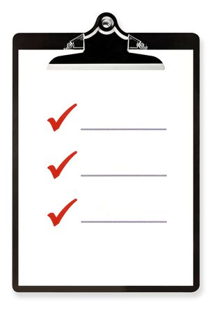Blank checklist on clipboard, with large red ticks, and room for text. photo
