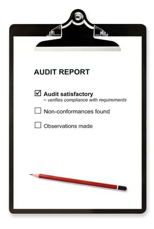 assessment system: Audit report and pencil on clipboard, with