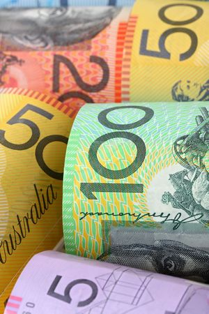 one hundred dollars: Background of Australian notes, soft-focus. Stock Photo