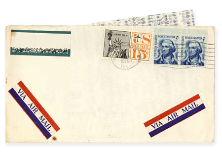 USA airmail envelope, postmarked Chicago, 1966.  Contains letter typed on airmail paper.  Clipping path included. photo