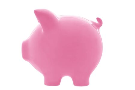 profile view: Pink piggy bank, in profile view, isolated on white.  Clipping path included.