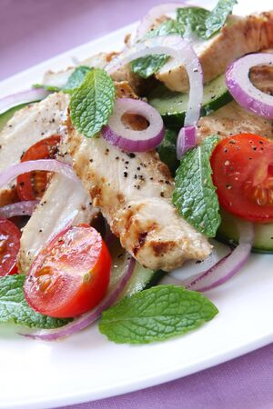 Salad with grilled chicken breast, cucumber, mint, red onion, and cherry tomatoes.  Delicious healthy eating. Stock Photo - 3102968