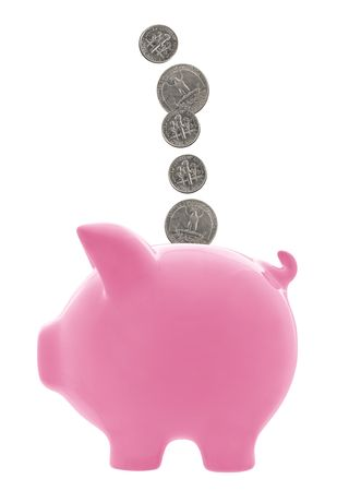 Pink piggy bank with dimes and quarters falling into it.  Isolated on white. Stock Photo - 3161746