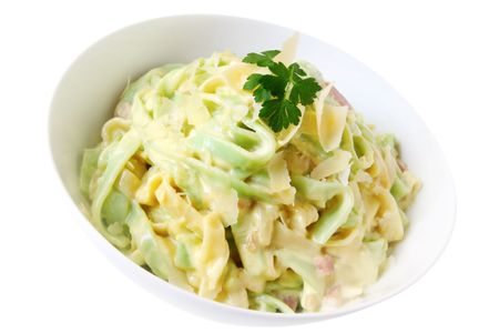 ribbon pasta: Fettucine carbonara, with creamy sauce and bacon over green and white ribbon pasta.