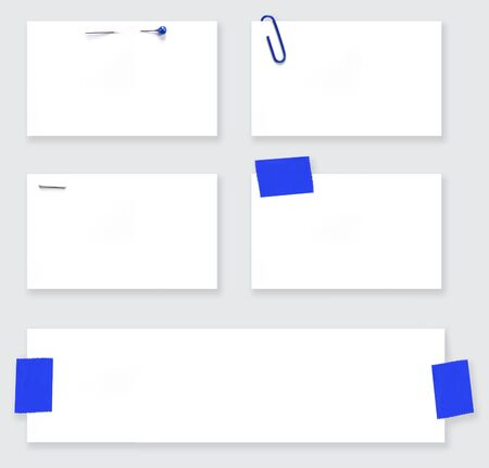staple: Variety of blank white labels, fastened with pearl-headed straight pin, paperclip, staple, and tape.  With clipping path.