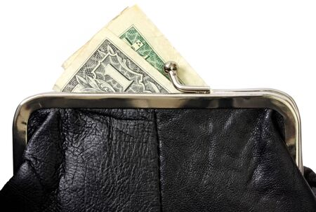 coin purse: Black coin purse or wallet, with US one dollar bill.