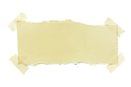 Torn yellow paper fastened with masking tape.  Isolated on white.