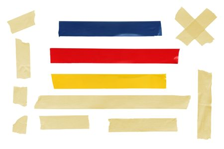 masking tape: Assorted tapes, isolated on white, including masking tape and electrical tape. Stock Photo